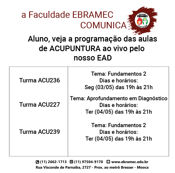 Aulas-EAD-03-05-1 Programação das Aulas de Acupuntura AO VIVO